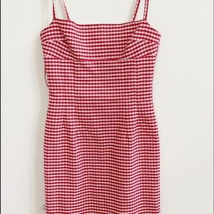 Topshop Red & White Plaid Dress. Size 10